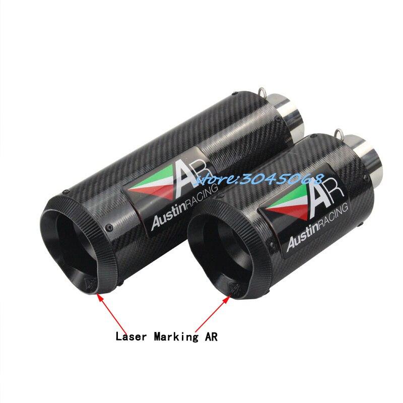 51мм 61мм Универсальный глушитель защитить трубы подходят для большинства мотоциклов Lasaer Макриялосе. наклейка Вытыхания волокна углерода для Ducati 696 БМВ R1 и R6