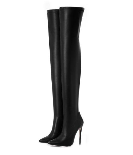 2018 fashion Women black leather Boots Stretch Slim Thigh High Boots Fashion Over the Knee Boots High Heels Shoes Woman boots цена