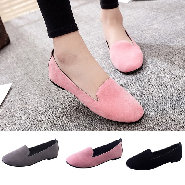 Women Ladies Slip On Flat Round Toe Shallow Shoes Sandals Casual Shoes  Vintage Genuine Leather Women Flats Girl Loafer 5658fe7dd88e