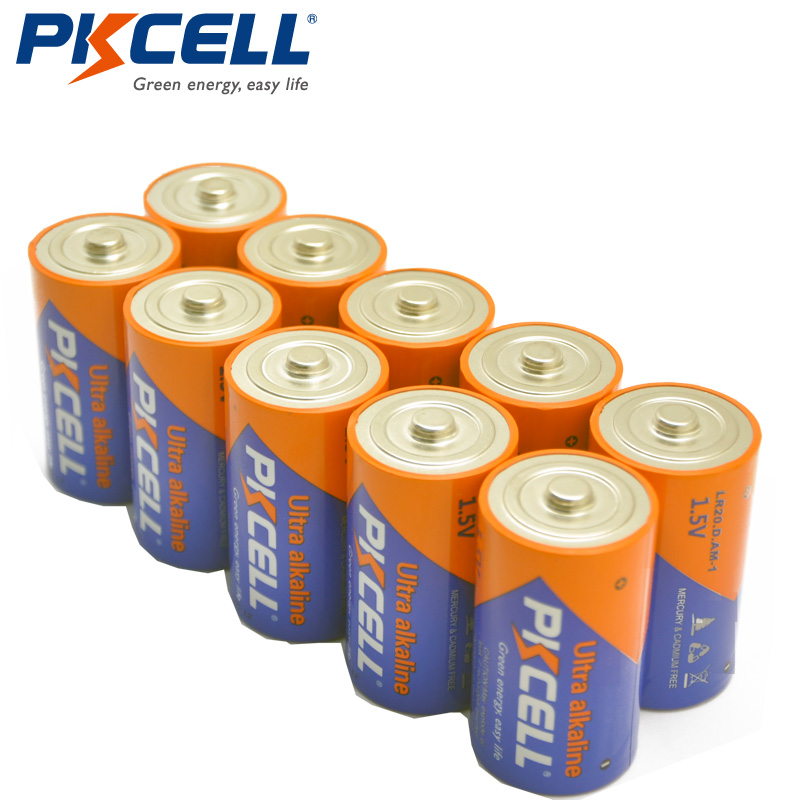 10 x pkcell 1 5v lr20 d size batteries super alkaline battery in primary dry batteries from. Black Bedroom Furniture Sets. Home Design Ideas