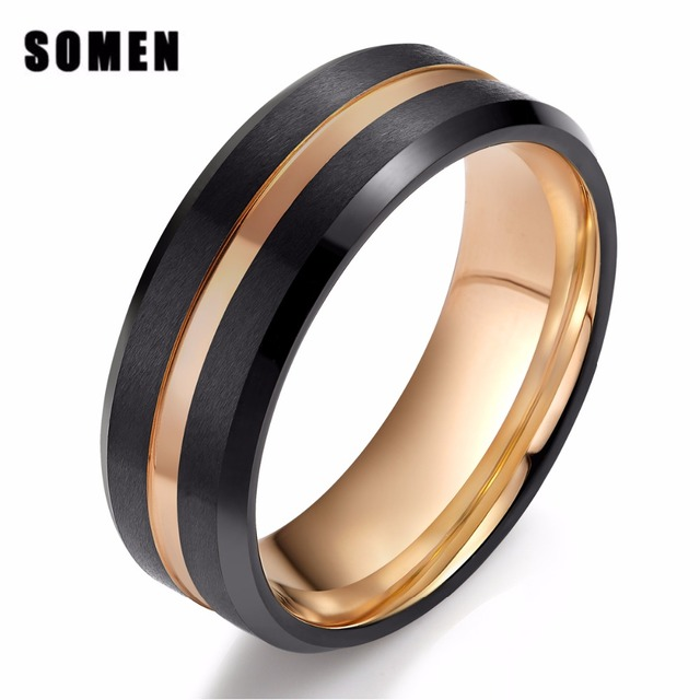 Somen New Men Rings Male Tungsten 8mm Wedding Band Gold Line Brushed S Engagement