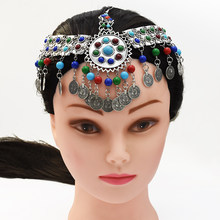 Gypsy Coin Bead Head Chain Indian Ethnic Tribal Hair Jewelry Clip Headdress Rhinestone Bohemia Forehead Wedding Hair Accessories(China)