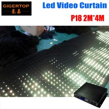 P18 2M*4M LED Vison Curtain With Off Line Mode Controller Tricolor Led Video Curtain For DJ Wedding Backdrops