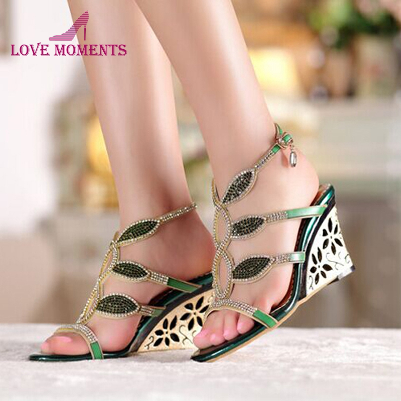 Fashion Royal Blue Green Rhinestone Summer Sandals Wedge Heel Open Toe Crystal Prom Shoes 3