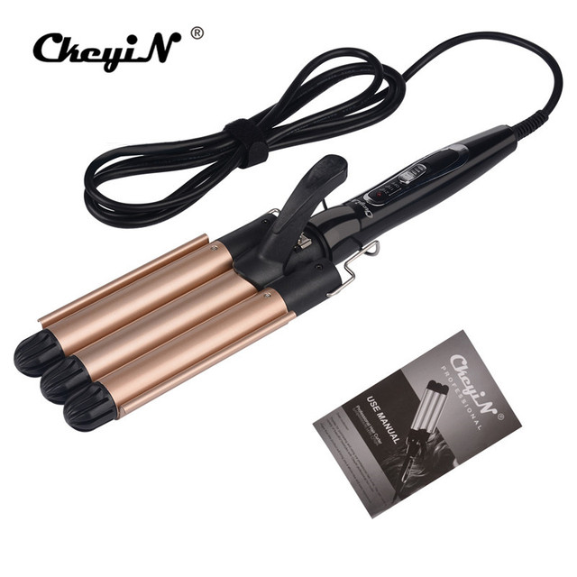 Fashion Three Pipe Joint Ceramic 3 Barrels Clamp Hair Curling Iron Deep Wave Curler Waver