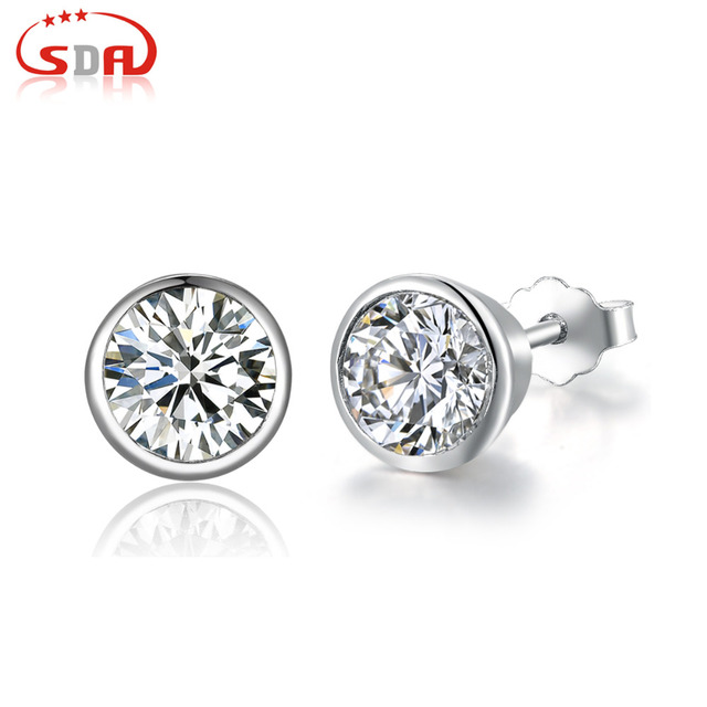 877ea3b61 SDA Genuine100% Real Pure 925 Sterling Silver earrings 2 colors Beautiful  New Arrival Top Quality