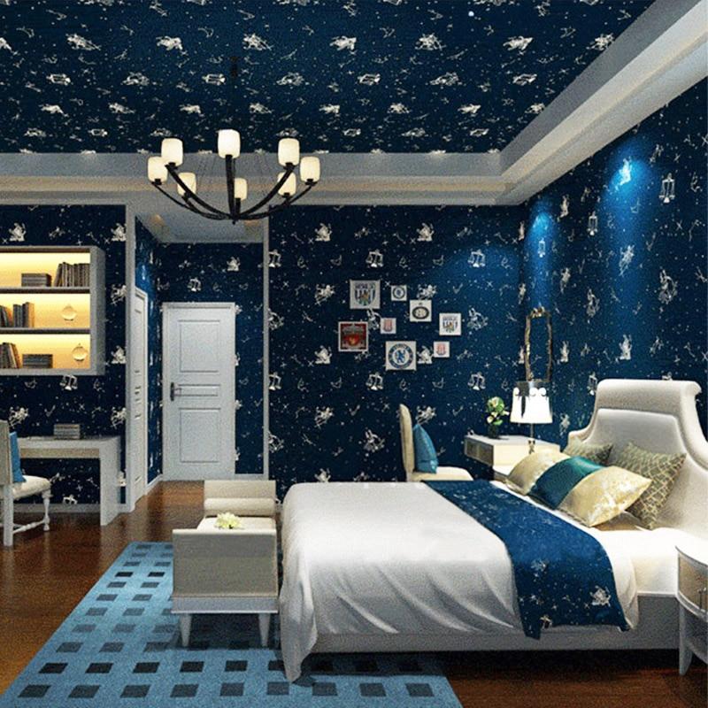 bedroom modern boys cartoon constellation ceiling 3d star children fluorescent wall zoom wallpapers rolls papers