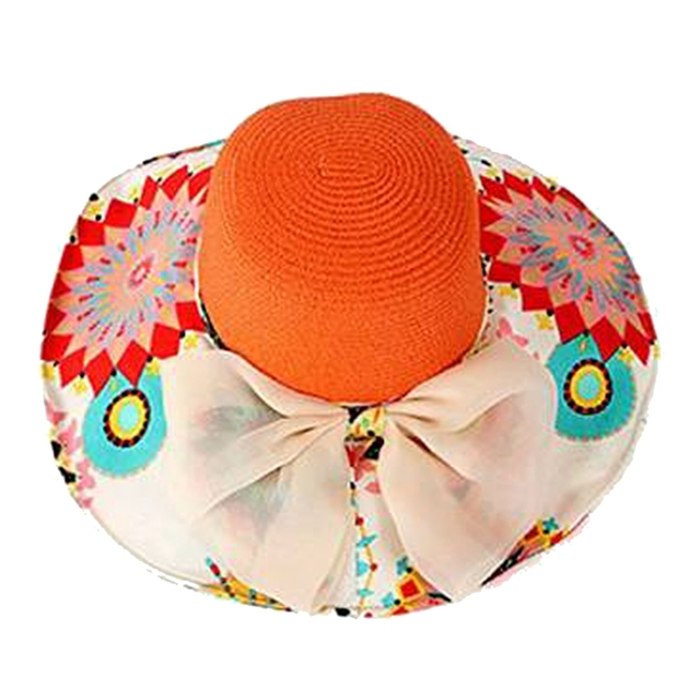 1eaf65a6b93b0a Women Summer Foldable Wide Large Brim Floppy Beach Hat Sun Straw Hat Orange