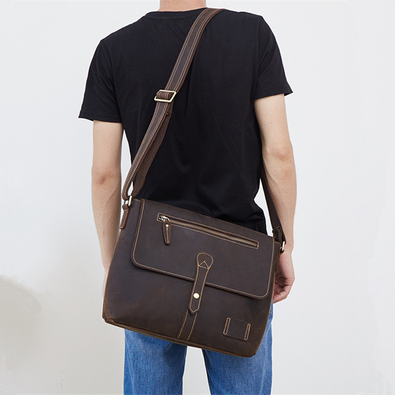 Nesitu High Quality A4 Vintage Brown Thick Durable Crazy Horse Leather Men Messenger Bag Genuine Leather Male Shoulder Bag M6352 nesitu high quality vintage dark brown genuine leather men bag crazy horse leather small men messenger bags shoulder bag m7051