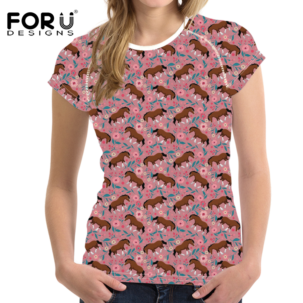 FORUDESIGNS Clydesdale Horse Floral Printed Casual Short Sleeve T Shirts Brand Clothes O-neck Tops T-shirt Female Breathable Tee