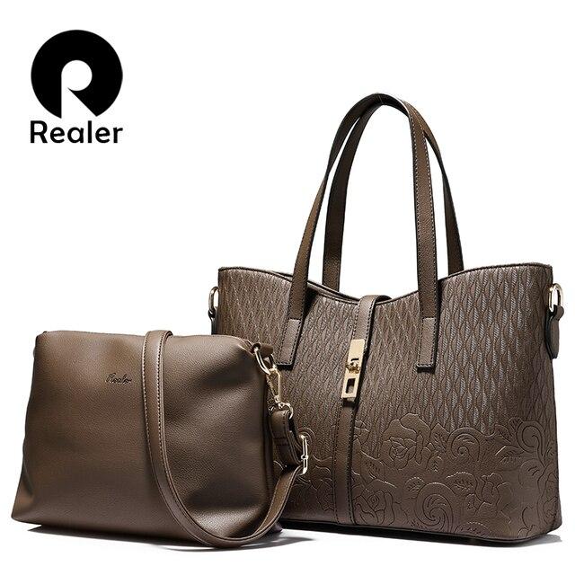 REALER brand fashion women handbag high quality imitation leather floral embossed tote bag female shoulder messenger bags