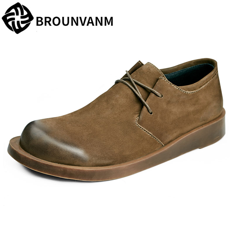 spring and autumn Male Genuine leather shoes British reto men casual shoes Lace-Up Business Men all-match cowhide Leisure
