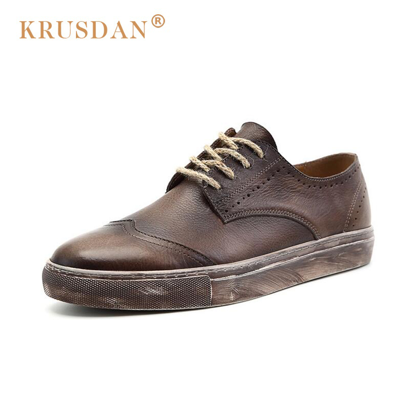 [krusdan]2018 Fashion Brand Famous Designer Retro Bullock Genuine Leather Men Casual Shoes European Style Durable Lace-up Shoes dreambox simple european and american sports leather retro style hand made coarse shoes casual shoes