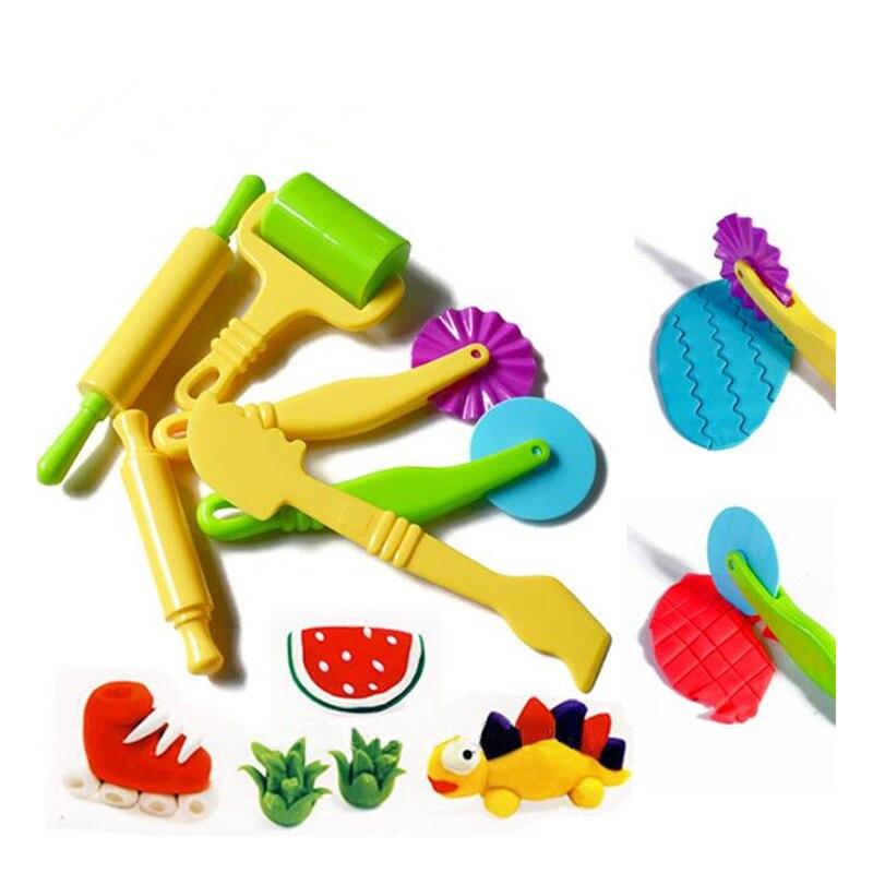 6PCS Polymer Clay Playdough Molds Plasticine Play Doh Fimo Polymer Clay Intelligent Plasticine Mold Mould Handgum