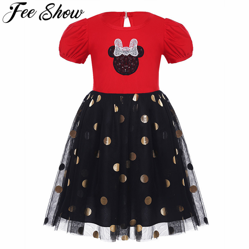 2017 Cute Toddler Girls Halloween Costume Short Sleeves Polka Dots Cosplay Party Newborn Dress Black Red SZ 6 Months-6Years
