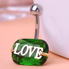 Blucome Love You Green Rhinestone Piercing Belly Button Ring Barbell Piercing Ring Body Piercing Jewelry For