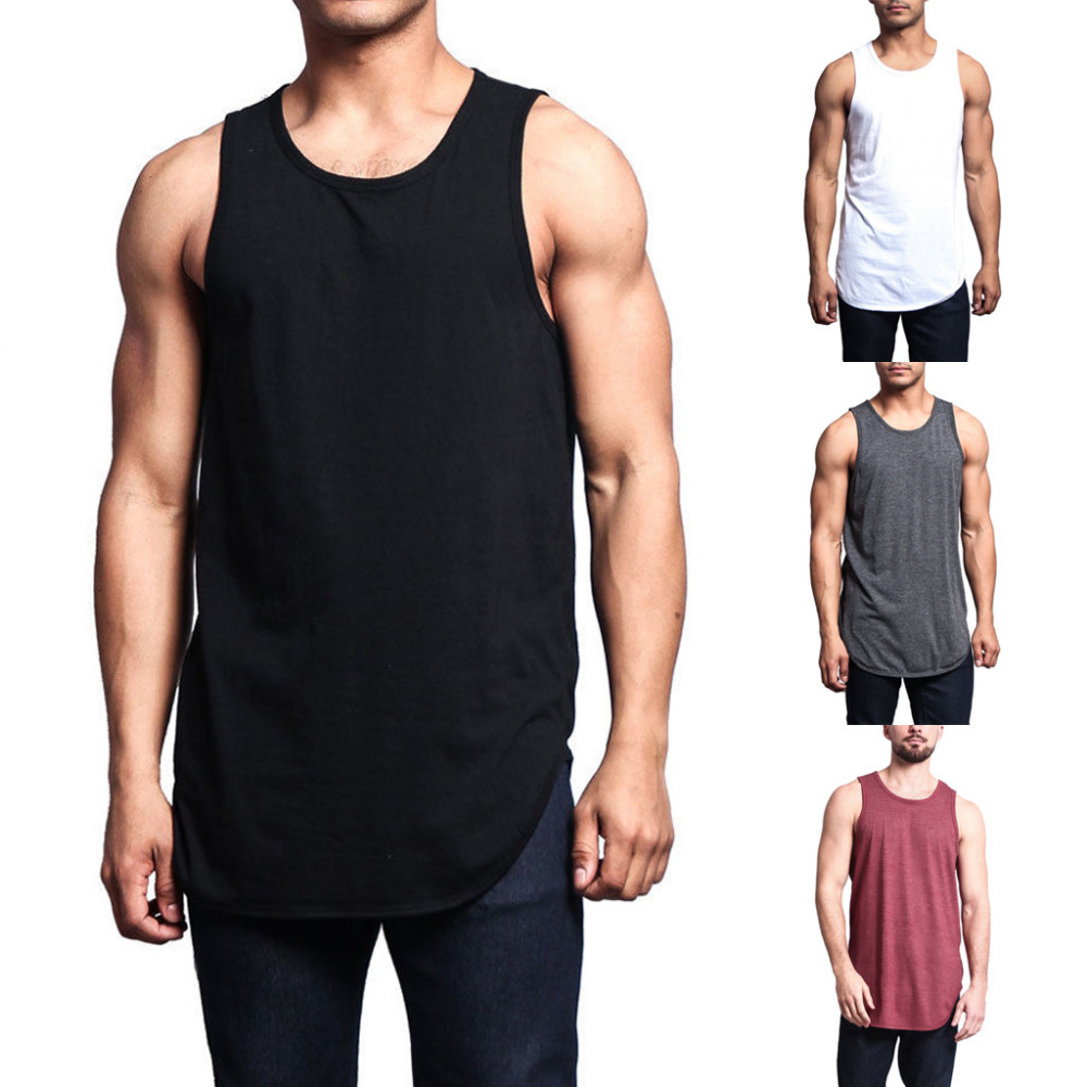 2019 New Hot Sales Men Casual Basic Solid Long Length Curved Hem   Tank     Top   Sleeveless Shirts high Quality And Comfortable