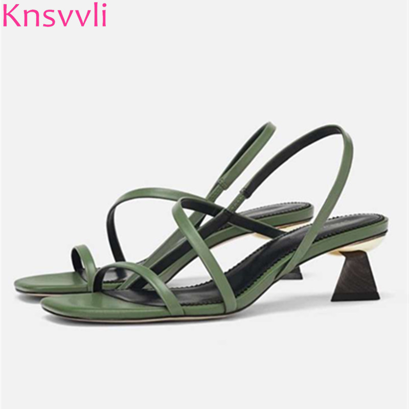 Green Women/'s Summer Shoes High Heels Green Summer Sandals for Her Sling back style with adjustable strap Vintage Sandals Shoes