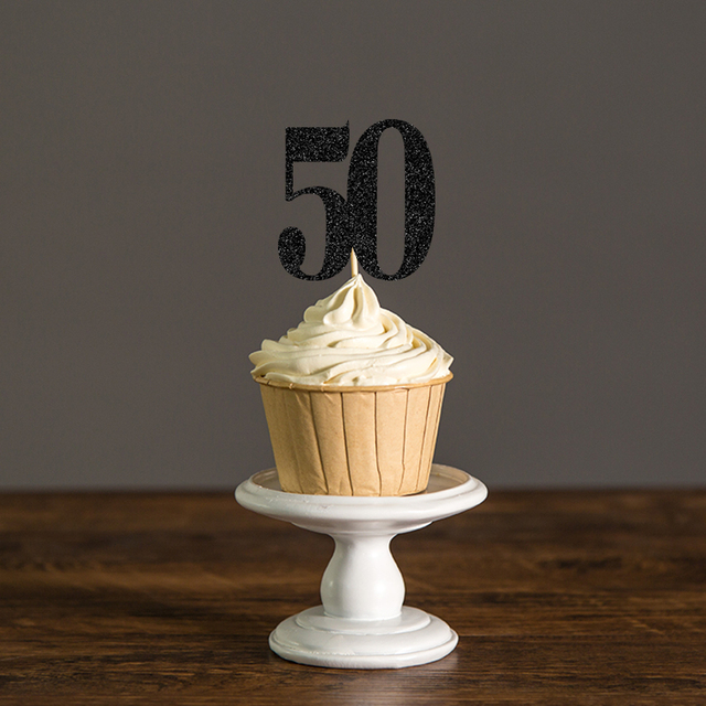 Gold Silver Black Glitter 50 Cupcake Toppers Picks For 50th Birthday Fifty Anniversary Wedding