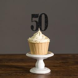 Золотой/Серебряный/черный блеск 50 кекс топперы выбирает для 50-го дня рождения 50-летия свадьбы партии украшения поставки