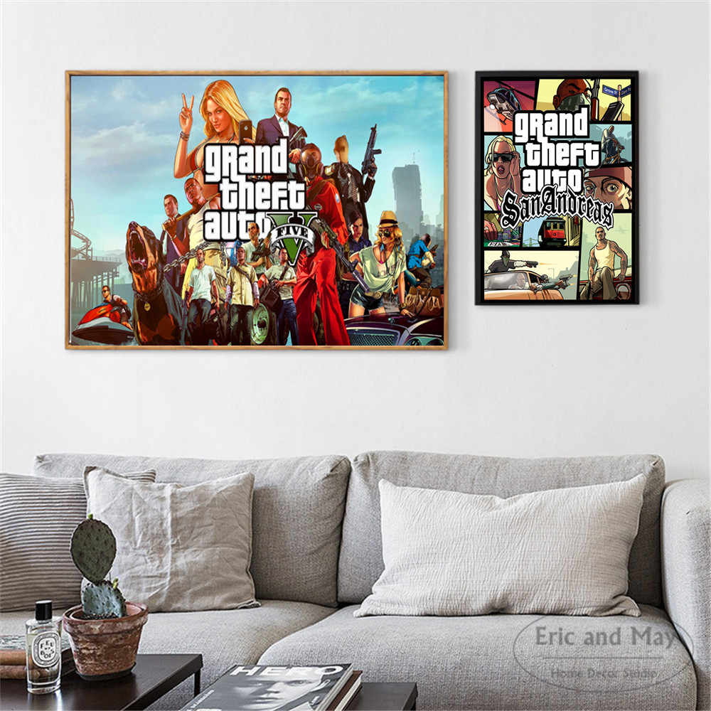 GTA 5 San Andreas Vice City Vintage Canvas Art Print Painting Poster Wall  Pictures For Room Home Decoration Wall Decor No Frame