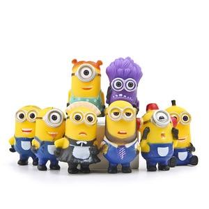 Image 1 - 8 יח\חבילה Minion מיניאטורי צלמיות צעצועים חמוד יפה דגם ילדים צעצועי 5.5cm PVC אנימה ילדי דמות