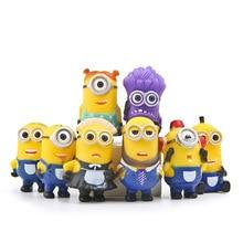 8pcs/lot Minion Miniature Figurines Toys Cute Lovely Model Kids 5.5cm PVC Anime Children Figure