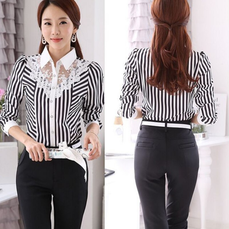 HTB11dhVaIrrK1Rjy1zeq6xalFXam - Women Blouse Long Sleeve Lace Tops Striped Turn-Down Collar Blouses Official Female Formal Shirt Spring Autumn