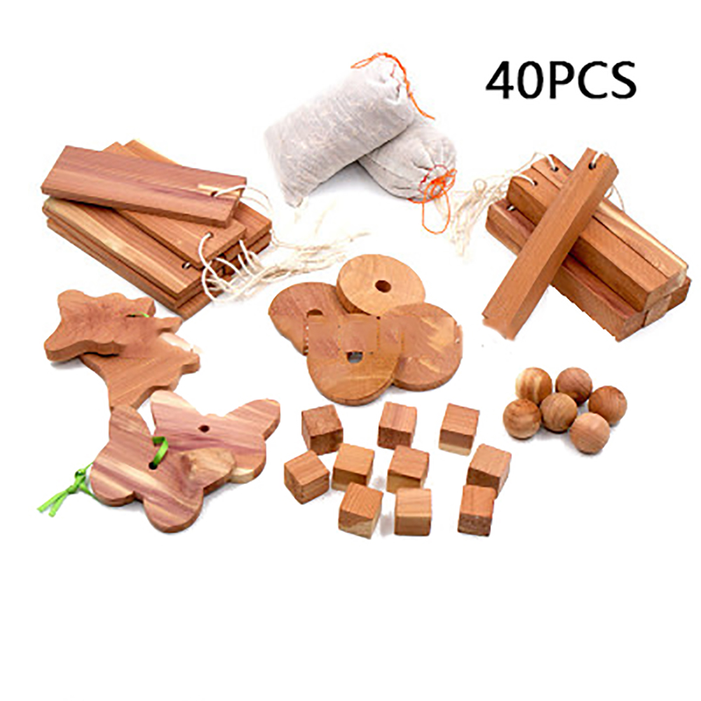 40/20 Pieces Cedar Wood Block Ring Wardrobe Clothes Insect Repellent Moth Ball Household Moth Mildew Proofing