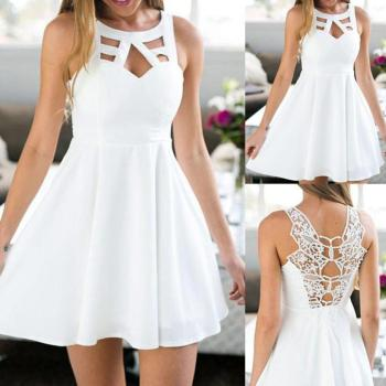 Women Boho Back Lace Mini A-Line Sundress Sleeveless Beach dress