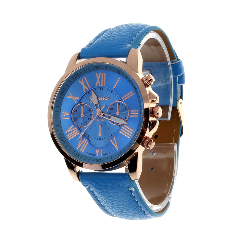 2017 New Women's Fashion Geneva Roman Numerals Faux Leather Blue Analog Quartz Wrist Watch dropshipping top sale montre femme quartz watch women s fashion geneva roman numerals faux leather analog wrist watch relogios femininos yo1