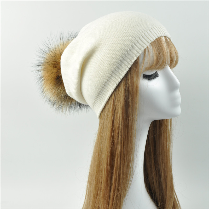 Wholesale Real Raccoon Fur Pom Pom Knitted Hat Women Beanies Cashmere Winter Hat Female Girl Cotton Skullies Wool Beanie Hat