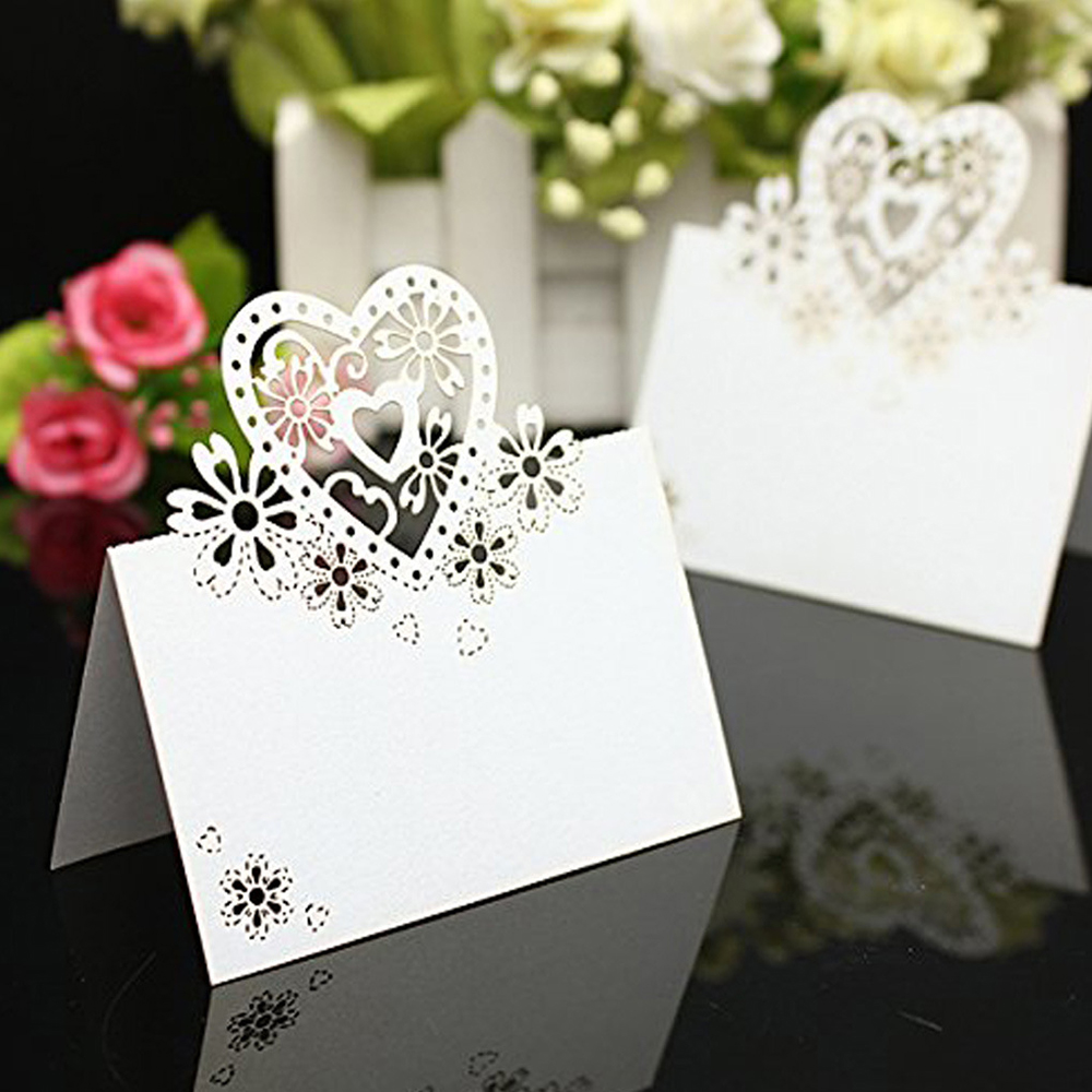 2016 New Arrival 50pcs/Lot Love Heart Wedding Party Table Name Place Cards Favor Decor Wedding Decoration 50pcs lovely shell place name cards wedding birthday party table setting decor