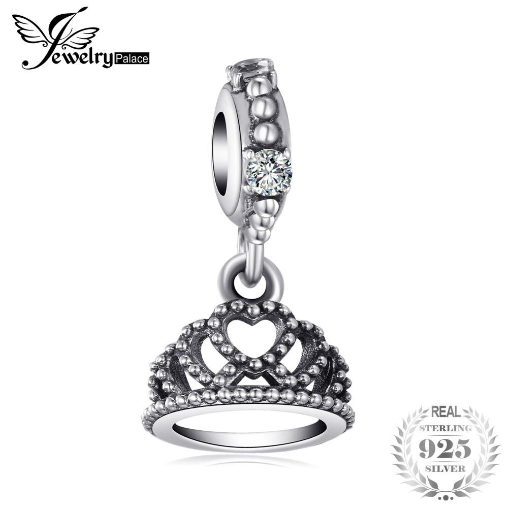 Jewelrypalace 925 Sterling Silver Adorable Princess Crown Openwork Beads Charms Fit Bracelets Gifts For Women Fashion Jewelry