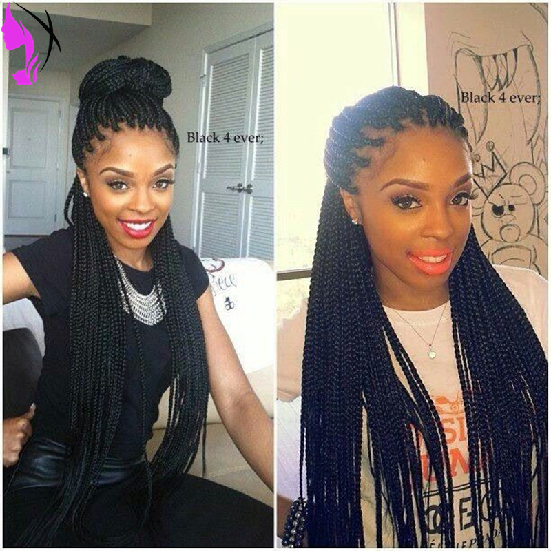 Synthetic Kinky Twist Braiding Hair Black Twist Braided Lace Front