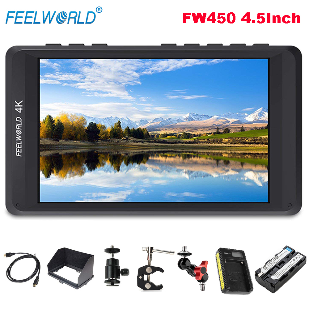 Feelworld FW450 4.5Inch IPS 4K HDMI On-Camera Field Monitor 1280x800 HD Portable LCD Monitor for DSLR Battery Charger Magic Arm цена