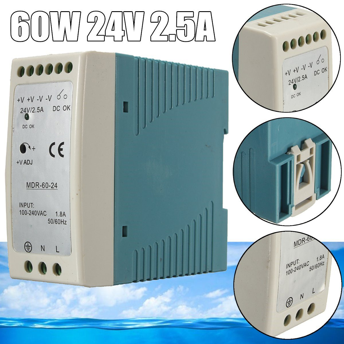 все цены на Single Output 60W 24v 2.5A DIN Rail Power Supply MDR-60-24 from maker New Arrival