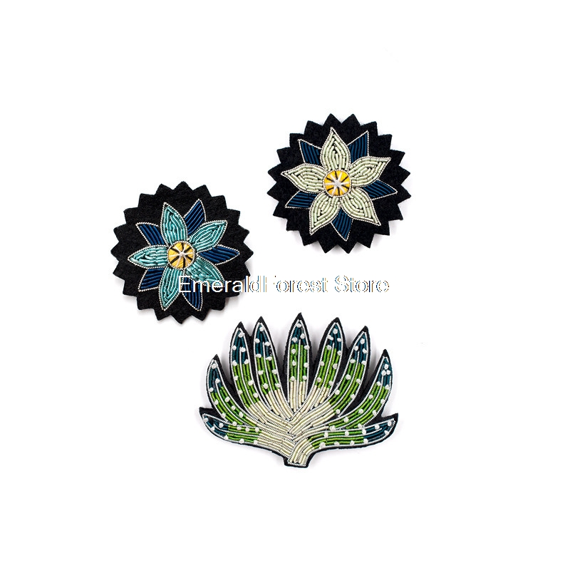 French Original Design Handmade Creative Brooch Arts,crafts & Sewing Indian Silk Embroidery Badge Plant Cactus Brooches