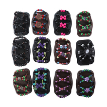 Haimeikang Retro Double Beaded Hair Magic Comb Clip Beads Elasticity Hairpin Stretchy Hair Combs Pins for Women Hair Accessories