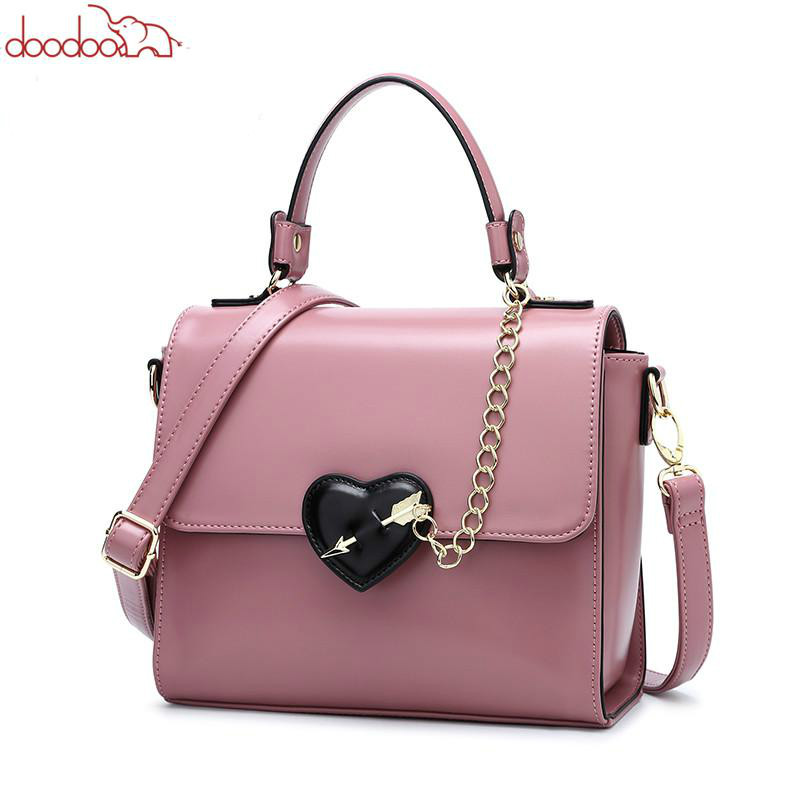 DOODOO Brand Women Leather Handbag Tote Bag Female Shoulder Crossbody Bags Ladies PU Leather Top-handle Bag Chain Heart-shaped heart shaped decor star chain bag