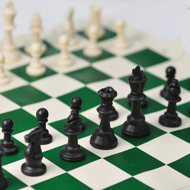 Vert 51cm vinyle tournoi échiquier pour les jeux éducatifs pour enfants tableau magnétique pour les échecs 6