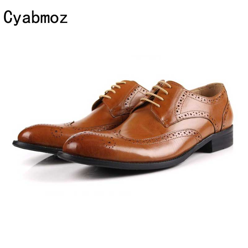 Cyabmoz High Quality Men Oxfords Shoes British Genuine Leather Brogue Carved Shoe Lace-Up Bullock Business Dress Mens Flats Shoe desai brand genuine leather shoes men oxfords shoes british style carved brown brogue shoes lace up bullock business men s flats