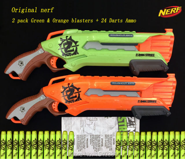 Origional Nerf gun/ Nerf Zombie Strike Rough Cut 2 pack GREEN & ORANGE  BLASTERS +