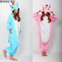 BOOCRE Unicorn Onesie Pink Blue Pyjamas Jumpsuits Rompers Adult Animal Sleepsuit Pajamas Costume Cosplay