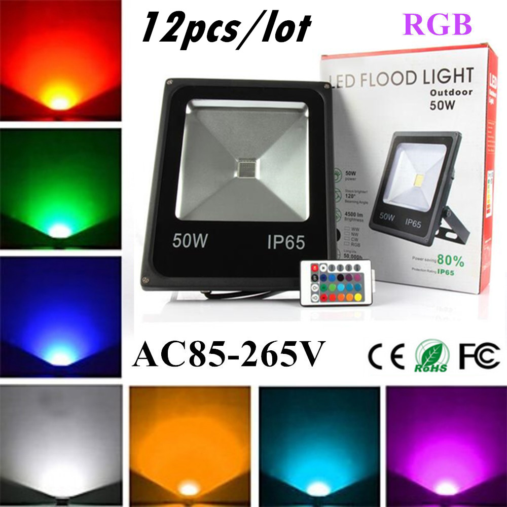 12X Led Flood Light RGB 10W 20W 30W 50W Led Floodlights Waterproof Led Outdoor Lights Color Changing AC 85-265V + Remote Control icoco waterproof led flood light 30w rgb color changing outdoor remote control 3000lm