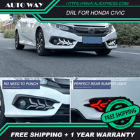 Free shipping ! LED DRL Daytime running light case for Honda Civic fog lamp case for Honda Civic Fog light Car styling
