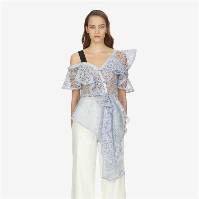 f394f987d0197 High Quality 2018 Summer One Shoulder Asymmetric Circle Floral Lace Blouse  Asymmetric Peplum Hem Top