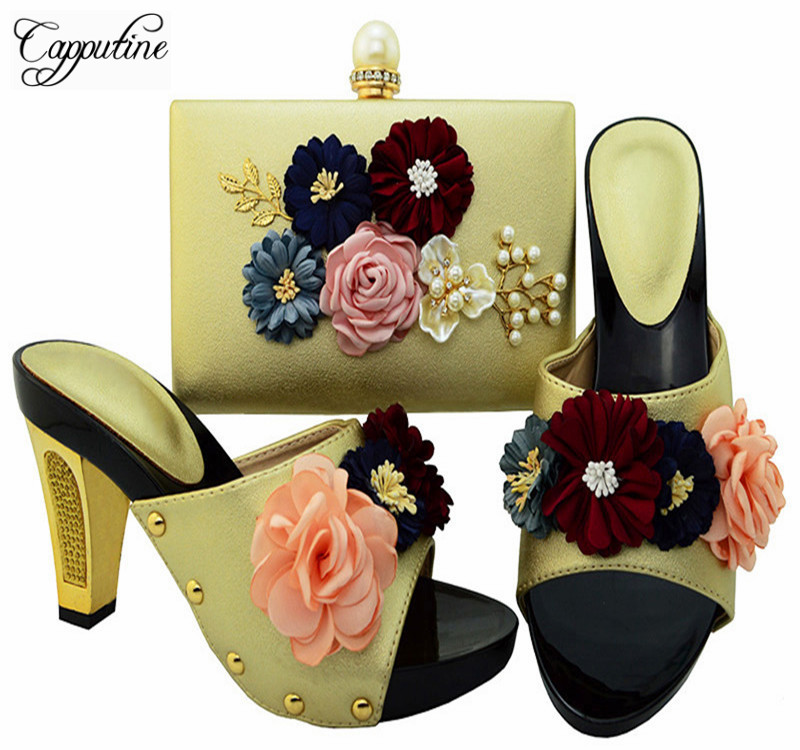 Capputine Hot Sale Italian Shoe And Bag Set African Flwoers Gold Color High Heels Shoes And Bag Sets For Party Dress BL0015 capputine hot sale summer ladies shoes and bag set african style high heels shoes and bag set for wedding party tys17 91