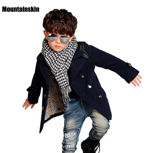 NEW Winter Boys Tweeds Coats Male Child Outerwear 3-12Y Children's Long Design Clothes Kids Thick Fashion Jackets Outdoor SC648