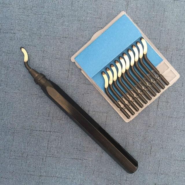 Outils débavurage en plastique, aluminium et cuivre, outil débavurage manuel de haute qualité RB1000 + 10 pièces BS1010/BS1012/BS1018/bk3010lame